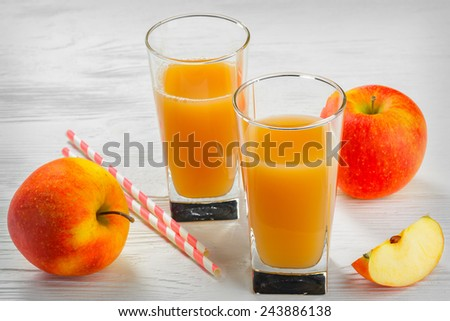 Glass of apple juice with Apple slices on a white wood tray