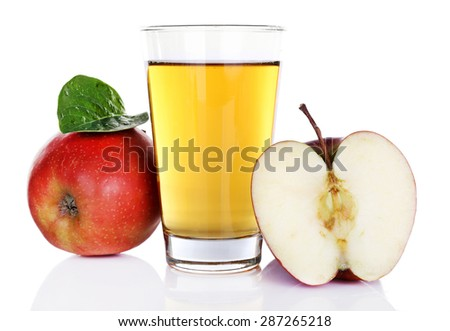 Glass of apple juice with red apples isolated on white - stock photo