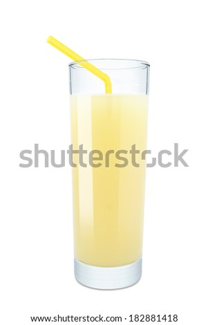 glass of banana juice on a white background