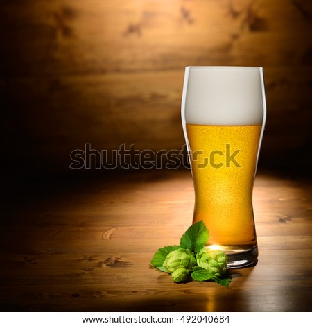 Glass of beer and hop on wood background with empty space