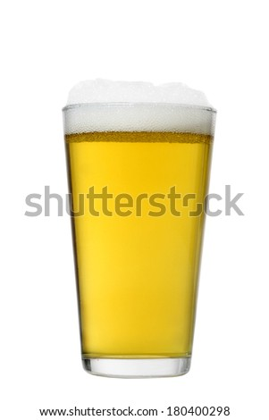 Glass of beer cutout, isolated on white background - stock photo