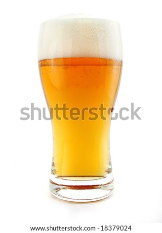 glass of beer drink with bubbles isolated on white background