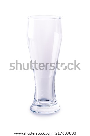 glass of beer empty solated on white background