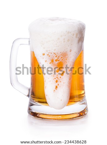 glass of beer foam Isolated on white background - stock photo