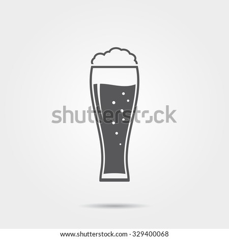 Glass of beer icon - stock photo