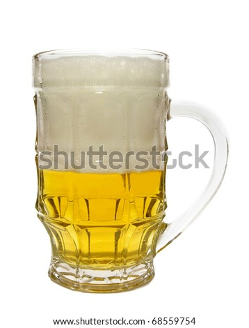 glass of beer is isolated on a white background