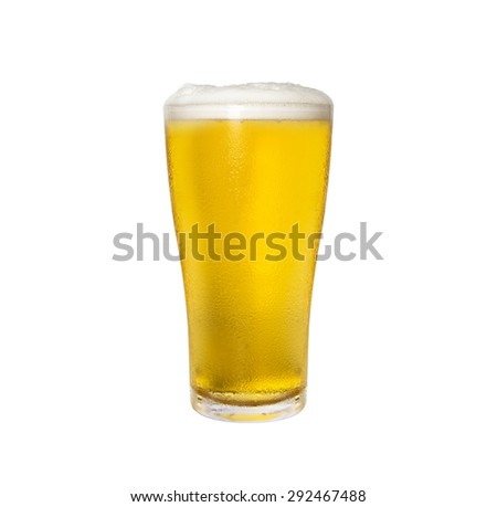 Glass of beer isolated - stock photo