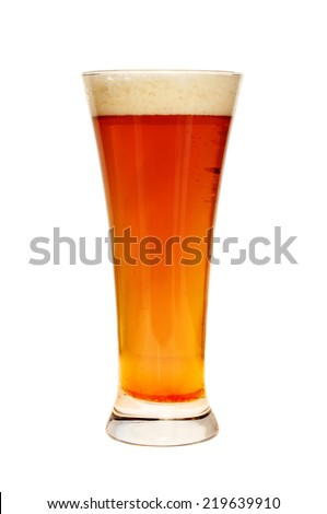 Glass of beer isolated against white - stock photo
