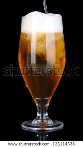 Glass of beer isolated on black