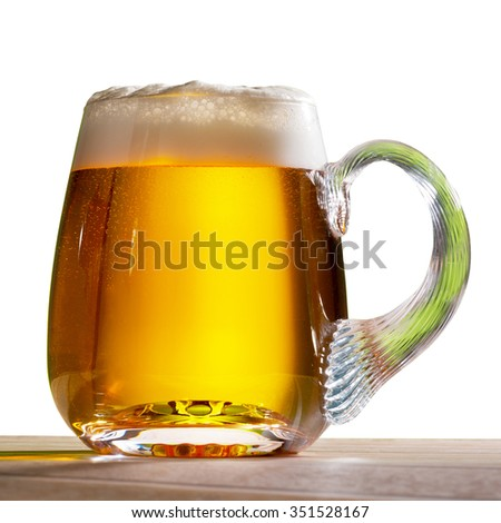 glass of beer isolated on the white background