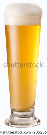 Glass of beer isolated on white background. Clipping path.