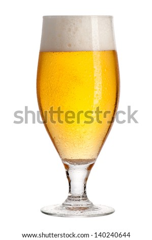 Glass of beer isolated on white background. File contains path to cut.