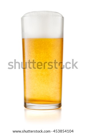 Glass of beer isolated on white background with real shadow and clipping path