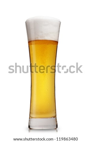 glass of beer isolated over white - stock photo
