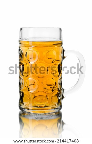 glass of beer on white background isolated