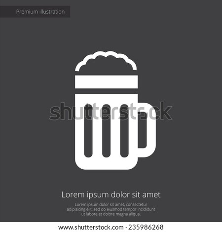glass of beer premium illustration icon, isolated, white on dark background, with text elements  - stock photo