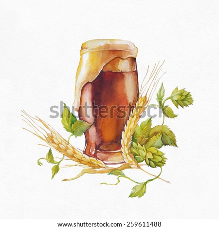 Glass of beer. Watercolor illustration on white background. - stock photo