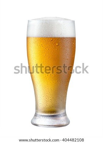 Glass of beer with cap isolated on white background. - stock photo