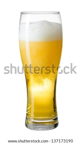 glass of beer with foam and bubbles isolated on white - stock photo