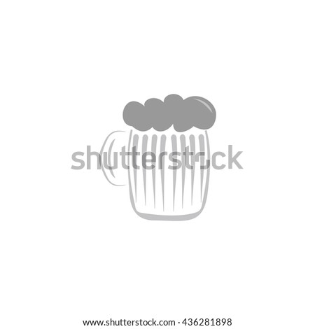 Glass of beer with foam. Color simple flat icon on white background - stock photo