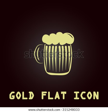 Glass of beer with foam. Gold flat icon. Symbol for web and mobile applications for use as logo, pictogram, infographic element