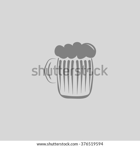 Glass of beer with foam. Grey simple flat icon - stock photo