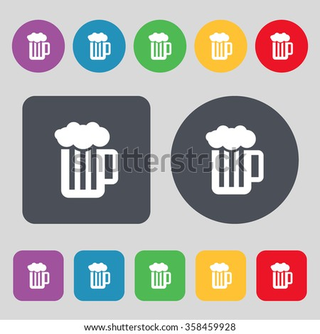Glass of beer with foam icon sign. A set of 12 colored buttons. Flat design. illustration - stock photo
