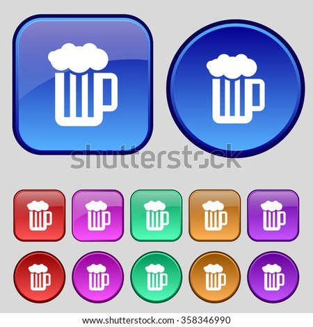 Glass of beer with foam icon sign. A set of twelve vintage buttons for your design. illustration - stock photo