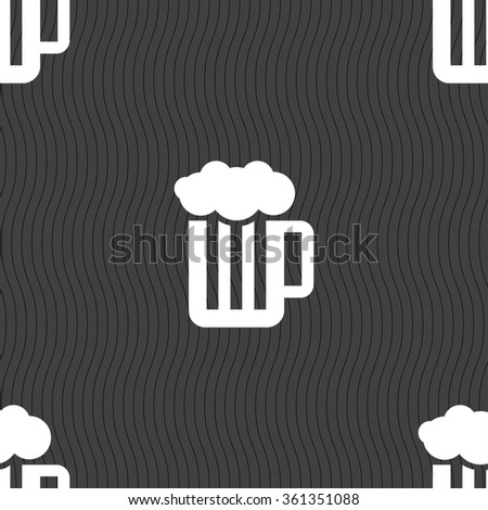 Glass of beer with foam icon sign. Seamless pattern on a gray background. illustration - stock photo