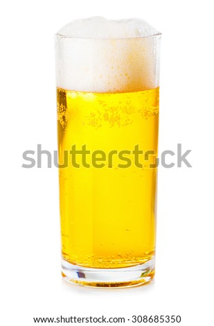 glass of beer with foam isolated on white background