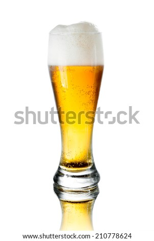 glass of beer with foam on white background