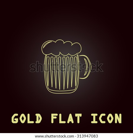 Glass of beer with foam. Outline gold flat pictogram on dark background with simple text. Illustration trend icon