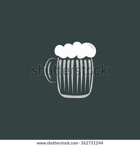 Glass of beer with foam. Simple flat color icon on colorful background - stock photo