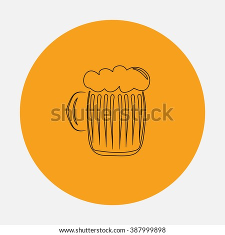 Glass of beer with foam. Simple flat icon on orange circle - stock photo