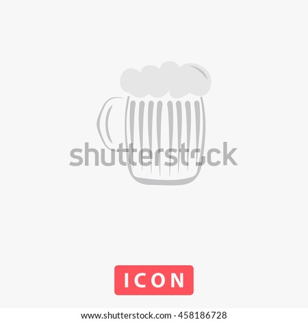 Glass of beer with foam. White circle button on black background - stock photo
