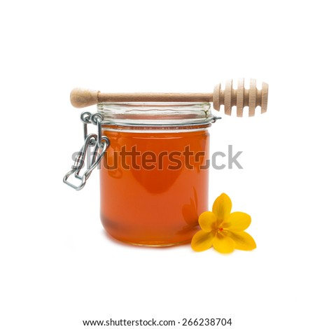 glass of bio honey with wooden drizzler on white background - stock photo