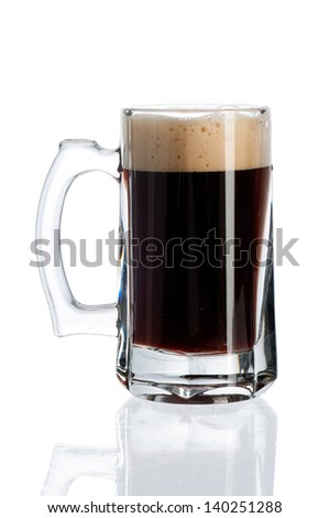 Glass of black beer isolated on a white background. File contains a path to cut. - stock photo