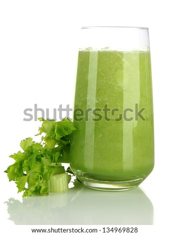 Glass of celery juice, isolated on white - stock photo