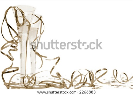 Glass of champagne and streamers in sepia - stock photo