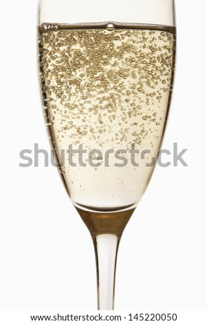 Glass of Champagne close up in studio - stock photo