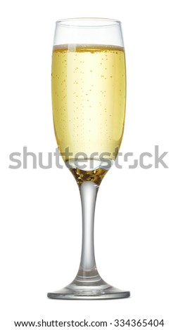 Glass of champagne, isolated on white - stock photo