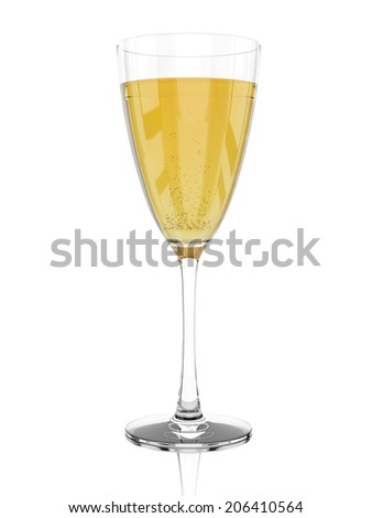 Glass of champagne isolated on white background. 3d rendering image