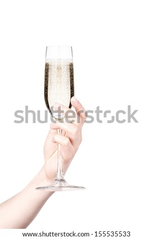 glass of champagne making toast isolated on a white background