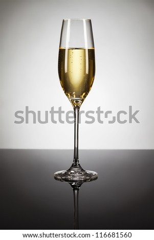 glass of champagne on a mirror with spot in background - stock photo