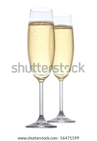 glass of champagne on white background - stock photo