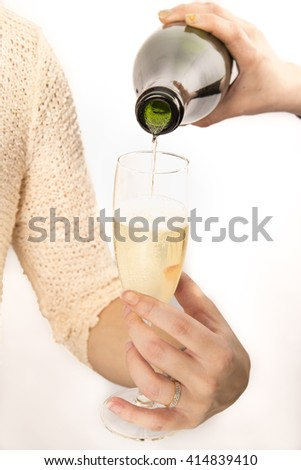 Glass of Champagne white background