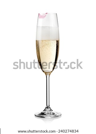 Glass of champagne with lipstick print - stock photo