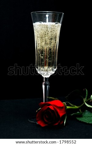 Glass of Champagne with Red Rose