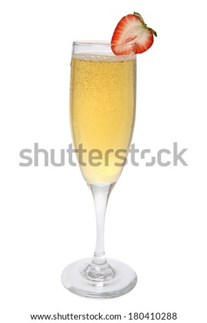 glass of champagne with strawberry on white - stock photo