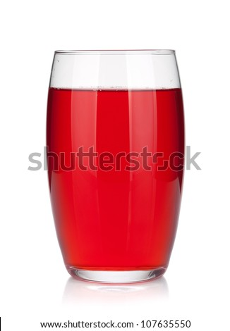 Glass of cherry juice. Isolated on white background - stock photo